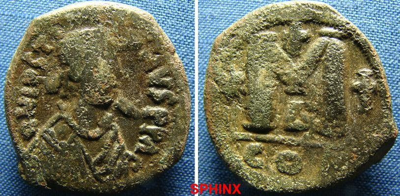 Ancient Coins - 41BM9) BYZANTINE EMPIRE, JUSTINIAN I, 527-565 AD, AE FOLLIS, 30 MM, 17.9 GRMS, D.N.IVSTINIANVS PP.AVG. DIADEMED AND CUIRASSED BUST RIGHT, REV. LARGE M BETWEEN STAR AND CROSS, FINE