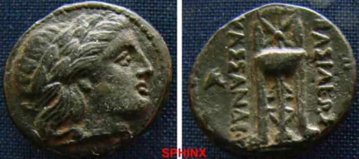 Ancient Coins - 539EK0) KINGS of MACEDON. Kassander. 305-298 BC. Æ19 mm Unit (6.03 g, 11h). Laureate head of Apollo right / Tripod; monogram to outer left field. SNG München 1024-1028 var. (monogr