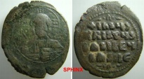 917M9) Constantine VIII   1025-1028 AD., Class A2 Anonymous AE Follis  33 X 38 mm  19.73 grms (unusually heavy)  attributed to the joint reign of Basil II and Constantine VIII, F+