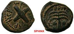 Ancient Coins - 430RK18) JUDAEA, Procurators. Antonius Felix. 52-59 CE. Æ Prutah (17 mm, 2.87 g). Jerusalem mint. Dated RY 14 of Claudius (54 CE). Two crossed shield and two spears / Palm tree; VF