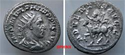 Ancient Coins - 41RR21) Philip I. AD 244-249. AR Antoninianus (21 x 23 mm, 3.87 g) Rome mint, 2nd officina. 4th emission, AD 245. Radiate, draped, and cuirassed bust right / Philip on horseback VF