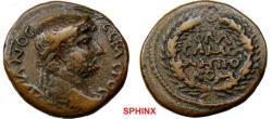 Ancient Coins - 817HM3) SYRIA, COMMAGENE. SAMOSATA. HADRIAN. 117-138 AD. Æ 19.5 MM (4.62 G). LAUREATE HEAD RIGHT / FLA/CAMO/MHTPO/KOM IN FOUR LINES WITHIN WREATH. SNG COPENHAGEN 17; BMC GALATIA, E