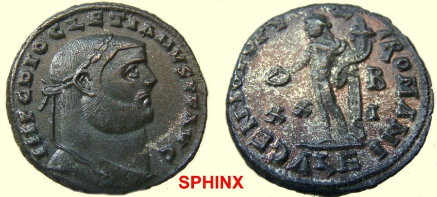 Ancient Coins - 564FF4) Diocletian. AD 284-305. Æ Follis (26 mm, 9.69 g, 12h). Alexandria mint, 2nd officina. Struckcirca AD 301. Laureate head right / Genius standing left, holding patera and cor