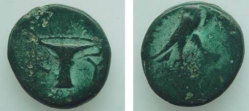 Ancient Coins - 471GREEK) ASIA MINOR, CYME, AEOLIS, CIRCA 350-250 BC, AE16 MM, 4.61 GRMS, EAGLE STANDING RIGHT, TRACE OF MAGISTRATE NAME TO LEFT, REV. VASE WITH ONE HANDLE, K Y ,HEAD PAGE 553.RARE