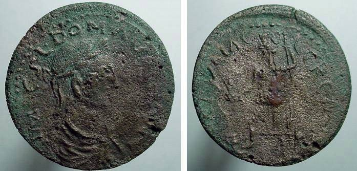 Ancient Coins - 308ER)  Pisidia, Cremna. Aurelian. A.D. 270-275. Æ 32 mm (14.61 g). Laureate, draped and cuirassed bust right / Tyche standing left, holding bust of emperor and sceptre; aFINE