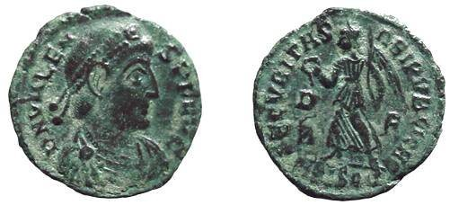 Ancient Coins - 36G) Valens circa 369 - 325 AD, Bronze AE 3 (18 mm) 2.82 grms. Copper NUMMUS, Obverse: Bust Right, Reverse: Victory Advancing Left  Siscia mint, VF COND.