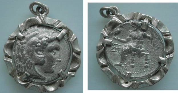 Ancient Coins - 935GX) AUTHENTIC ALEXANDER THE GREAT COIN JEWELERY PENDANT IN A NICE SILVER BEZEL; GREAT GIFT. OVERALL WEIGHT 26.2 GRAMS;