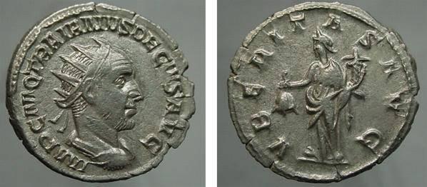 Ancient Coins - 491ROM)  Roman Empire, Trajan Decius AR Antonianus, 4.19 GRAMS. 249-251 AD Rome mint, IMP.C.M.Q.TRAIANVS DECIVS AVG. Radiate ,draped, and cruraissed bust right. VBERITAS AVG Uberit