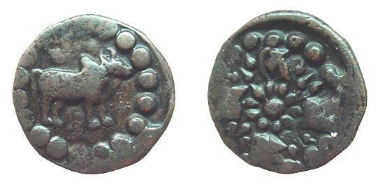 Ancient Coins - 553EE) NEPAL, DYNASTIES OF RAGHADEVA, AND OF THE THAKURIS; PROBABLY ALSO OF THE EARLY MALLAS, CIRCA 879-1326 AD, AE UNIT, 4.56 GRAMS, 19.5 MM, HUMPED BULL WALKING RIGHT, VF