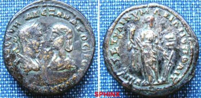 Ancient Coins - 417RM00) MOESIA INFERIOR, Marcianopolis. Severus Alexander, with Julia Mamaea. AD 222-235. Æ Pentassarion (26 mm, 11.13 g, 1h). Laureate, draped, and cuirassed bust of Severus Alex