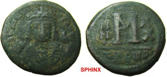 Ancient Coins - 312RM1) Maurice Tiberius. 582-602. Æ Follis (28.5 mm, 9.47  g, 12h). Theoupolis (Antioch) mint. Dated RY 20 ( 601/2). Crowned bust facing, wearing consular robes, holding mappa VF