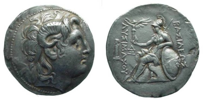 Ancient Coins - 1501RKG) Kingdom of Thrace, Lysimachos, 323 - 281 B.C., AR Tetradrachm, 32 x 33 mm flan, 17.03 grms, in VF cond and extremely high relief specially on obverse portrait.