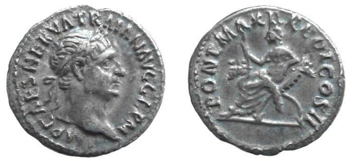 Ancient Coins - 369FG) TRAJAN, 98-117 AD, AR DENARIUS, ROME, 98-99 AD, 19 MM, 3.06 GRAMS, C 301, RIC 11, GOOD VF, NICELY TONED.