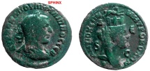 Ancient Coins - 111CK) SYRIA, SELEUCIA AND PIERIA, PHILIP I, 244-249 AD, AE 30 X 29 MM, 14.13 GRMS, LAUREATE BUST RIGHT, REV. BUST OF TYCHE TURRETED AND VEILED RIGHT, W/ RAM ABOVE RUNNING RIGHT