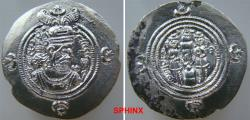 Ancient Coins - 386RF0Z) SASANIAN KINGS. Husrav (Khosrau) II. AD 590-628. Post reform AR Drachm (31.5 mm, 3.92 g). AY (SUSA mint). Dated RY 28 (AD 618). Crowned bust right / Fire altar flanked by