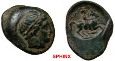 Ancient Coins - 769GG18) KINGS of MACEDON, Philip II. 359-336 BC. Æ 18 X 23 mm (7.58 gm). Diademed of Apollo right / FILIPPOU, youth on horseback right; spearhead below. SNG ANS 944. VF, dark brow