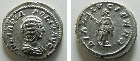 Ancient Coins - 2021RX) JULIA DOMNA UNDER CARACALLA, AR DENARIUS, RSC- 32, RIC-C373A, IN XF CONDITION, AND NICE TONE.