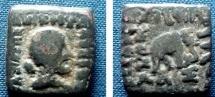 501FC) INDO-GREEK KINGS of BAKTRIA, LYSIAS, CIRCA 145-135 BC, AE RECTANGULAR HEMIOBOL, 7.95 GRAMS BARE HEAD OF HERCULES RIGHT WITH CLUB OVER SHOULDER, REV ELEPHANT STANDING RIGHT,