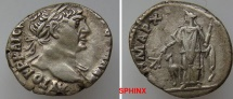 Ancient Coins - 548HM3) ARABIA, Bostra. Trajan. AD 98-117. AR Drachm (17 mm, 3.42 g, 6h). Laureate bust right, slight drapery / Arabia standing left holding branch and bundle of cinnamon sticks;