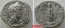 Ancient Coins - 473GF4) Septimius Severus. AD 193-211. AR Denarius (20 mm, 3.24 g, 6h). Rome mint. Struck AD 201-202. Laureate head right / Septimius, veiled, standing left, holding branch aEF