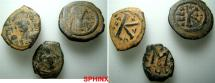 Ancient Coins - 303RR1) STUDY GROUP CONSISTING OF 3 BYZANTINE BRONZE FOLLIS, IN AVERAGE FINE+ / VF CONDITION. THIS IS AN EXCELLENT STUDY GROUP AND MAY INCLUDE SCARCE TO RARE COINS;