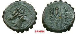 Ancient Coins - 759FG8) SELEUCID KINGDOM OF SYRIA, DEMETRIUS I, 162-150 BC, SERRATED AE 19 mm, 8.38 grms, Obv. Head of Artemis right wearing stephane, bow and quiver over shoulder; rev. bow beside