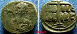 Ancient Coins - 56BM9) BYZANTINE EMPIRE. Anonymous. AE Follis. attributed to the reign of Romanus III Argyrus AD 1028-1034.class B.Mint of Constantinople.( 25.5 x 28 mm, 10.58 grms), Facing, nimba