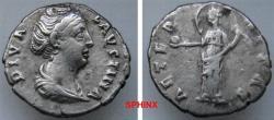 Ancient Coins - 35RR21) Diva Faustina Senior. Died AD 140/1. AR Denarius (17 mm, 2.93 g). Rome mint. Struck under Antoninus Pius, circa AD 146-161. Draped bust right, wearing hair in coil aVF