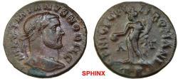 Ancient Coins - 303RK17) Galerius as Caesar (296-297 AD) AE Follis, 9.72 grms, 27 mm, Trier mint; Obv.: MAXIMIANVS NOBIL C, Laureate head right.Rev.: GENIO POPV-LIROMANI, Genius naked and wearing