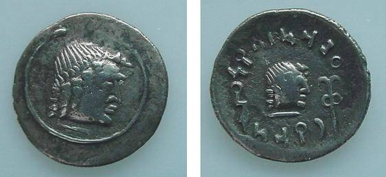 Ancient Coins - 406GREEK) ARABIA FELIX, HIMYARITES, CIRCA 1ST-2ND CENT BC, AR QUINARIUS, 1.4 GRAMS, MINT OF RAIDAN /BEARDLESS MALE HEAD RIGHT WITHIN CIRCLE, REV SMALLER HEAD RIGHT, LEGEND AROUND