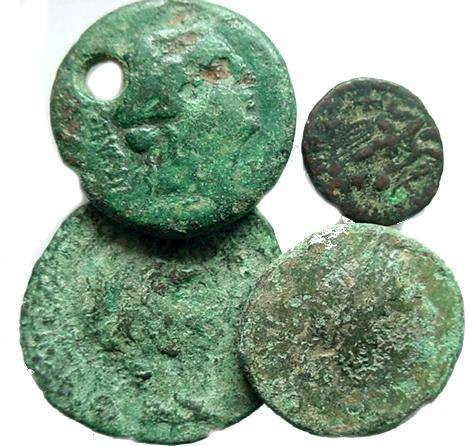 Ancient Coins - 3CK) LOT OF FOUR GREEK/ROMAN PROVINCIAL BRONZES, ALL ATTRIBUTABLE AND MANY WITH DISCERNABLE PORTRAIT ; CONDITION RANGE FROM FAIR TO ALMOST FINE, AND SIZES RANGE FROM 15 MM TO 25 MM