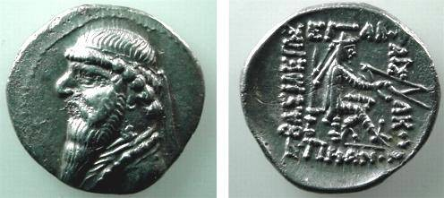 Ancient Coins - 501GREEK) PARTHIA, MITHRADATES II, 123-88 BC, AR DRACHM, 4.12 GRAMS, EXCELLENT METAL; SELLWOOD TYPE 24.9; IN VF COND.
