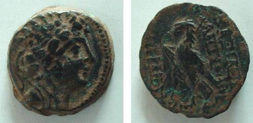 Ancient Coins - 7GRK) SELEUCID ANTIOCHUS VIII AE 21 FINE+ EAGLE REVERSE; ANTIOCH DATED ISSUE