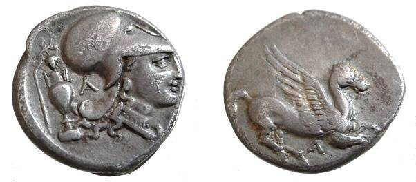 Ancient Coins - 1149CRB) Leukas, Akarnania,  circa 345-307 BC,  AR Stater 8.32 grms,20 mm, Pegasus flying right, symbol below