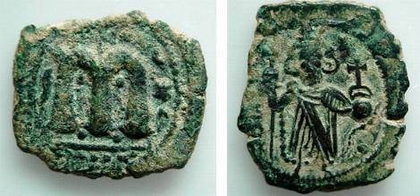 "Ancient Coins - 442HB) ARAB-BYZANTINE, AE FALS STANDING IMPERIAL FIGURE TYPE HOLDING LONG CROSS AND GLOBUS CRUCIGER, CURSIVE  m  REVERSE, CIRCA 693-697 AD, WITHOUT MINT SICA TYPE "" E "" . SICA I :"