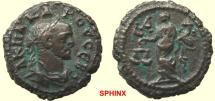 Ancient Coins - 759HM3) ROMAN EGYPT, ALEXANDRIA, CARUS, 282-283 AD, AE 18.5 MM POTIN TETRADRACHM, 7.56 GRAMS, REV.DIKAISOYNE STANDING LEFT, HOLDING SCALE IN RIGHT HAND AND CORNUCOPEA IN LEFT, VF+