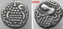 "Ancient Coins - 382FR3) INDO-SASANIAN "" GADHAIYA PAISA "" COINAGE OF THE CHAULUKYA-PARAMARA NEXUS; CIRCA 950-1050 AD, CHAULUKYA SERIES OF SAURASHTRA AND GUJARAT, AR DRACHM, 3.94 GRMS, 15 MM, VF+"