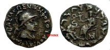 Ancient Coins - 713ER) Antialkidas. Circa 115-95 BC. AR DRACHM,  2.12 GRMS, Helmeted bust right,  / Zeus seated half-left, holding Nike, who holds wreath, and sceptre; elephant forepart facing lef