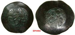 Ancient Coins - 30RM0Z) Manuel I Comnenus. 1143-1180. BI Aspron Trachy (30 mm, 3.90 grms). Constantinople mint. Struck 1167-1183(?). Christ Pantokrator enthroned facing / Manuel standing facing, h