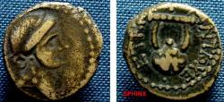 Ancient Coins - 781FG8) Seleucis and Pieria. Antioch. Time of NERO, 65-66 AD, AE 16 mm, 3.1 grms, Obv. head of Apollo right, Rev. Lyre, clockwise ANTIO--XE ET ΔIP = year 114 of Antioch Caeserian e
