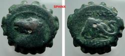 Ancient Coins - 849FG8) Seleucid kingdom of Syria, DEMETRIUS I, 162-150 BC, AE 17 mm serrate, 4.3 grms, Obv. bridled horse head left, Rev. Elephant head right, Houghton 172, BMC 60-61, pg 49 in VF