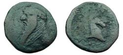 Ancient Coins - 504FR) MITHRADATES II, 123-88 BC, AE DICHALKON, 3.22 GRMS, OBV. LONG BEARDED BUST LEFT. REV. HORSE HEAD RIGHT, TYPE OF SELLWOOD 27.9/11, IN FINE+ COND.