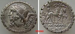 Ancient Coins - 922CGH0Z)  L. Memmius Galeria. 106 BC. AR Serrate Denarius (18 mm, 3.95 grms). Rome mint. Laureate head of Saturn left; below chin, pellet above M; harpa behind / Venus driving big