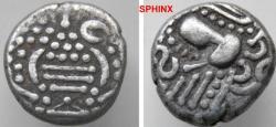 """Ancient Coins - 382FR3) INDO-SASANIAN """" GADHAIYA PAISA """" COINAGE OF THE CHAULUKYA-PARAMARA NEXUS; CIRCA 950-1050 AD, CHAULUKYA SERIES OF SAURASHTRA AND GUJARAT, AR DRACHM, 3.94 GRMS, 15 MM, VF+"""