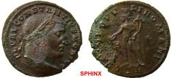 Ancient Coins - 292RK17) CONSTANTIUS I, as Caesar. 293-305 AD. Æ Follis (28 mm, 10.20 gm). Treveri (Trier) mint. Struck circa 298/9 AD. Laureate and cuirassed bust right / Genius standing left, ho
