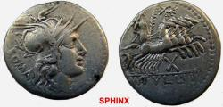 Ancient Coins - 923CGH0Z) M. Tullius. 119 BC. AR Denarius (20.5 mm, 3.88 grms). Rome mint. Helmeted head of Roma right / Victory driving quadriga right; wreath above, mark of value below. Crawford