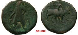 Ancient Coins - 64GC3) KUSHAN WIMA KADPHISES, 105-130 AD, AE UNIT FIRST BILINGUAL SERIES, 26 MM, 16.02 GRAMS, MITCHINER MACW 3008-22, IN aVF CONDITION, WITH NICE DETAILS.