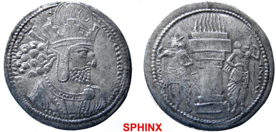 Ancient Coins - 530KE4) SASANIAN, SHAHPUR I, 240-271 AD, AR DRACHM, 3.48 GRAMS, HEADDRESS WITH EAR FLAPS, TYPE OF MITCHINER MACW-811/19; NICE STRIKE IN BEAUTIFUL VF.