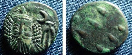 Ancient Coins - 536CB) ELAM, KAMNASKIRID OR ARSACID  DYNASTY, CIRCA 2ND CENT AD, SMALL THICK MODULE AE DRACHM AROUND 3GRMS, 15-16 MM THICKNESS; BLACK- GREEN PATINA AND GOOD DETAILS.