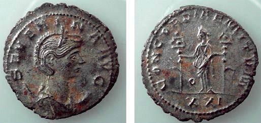 Ancient Coins - 487ROM) SEVERINA, 270-275 AD, AE ANTONINIANUS, FULLY SILVERED; ERROR REV. CONCORDIAE MITUM.